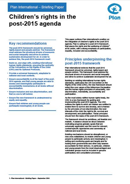 Plan International children's rights post-2015 briefing paper