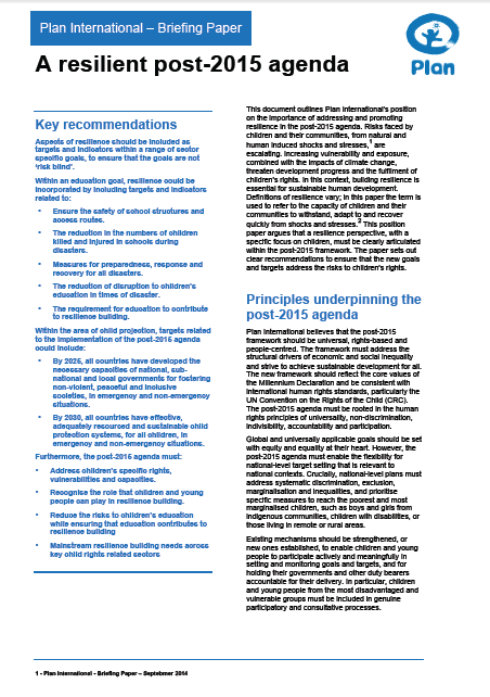 Resilience post-2015 agenda briefing paper