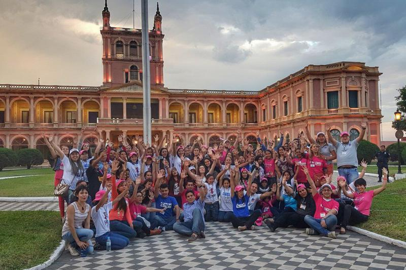 Plan International Paraguay staff and the girl leaders that took part in takeover activities