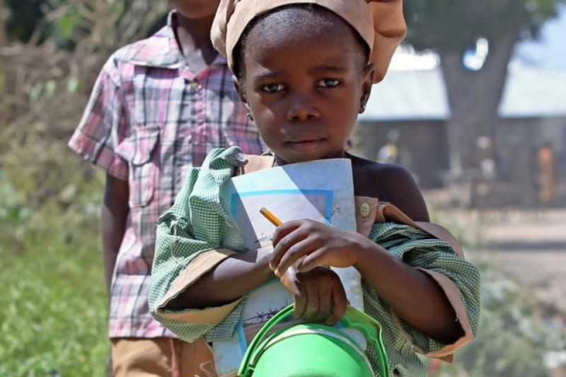 Girl on her way to school in Nigeria
