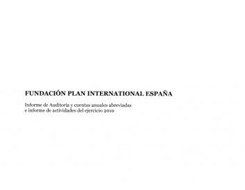 Portada del informe de cuentas anuales de Plan International España 2010