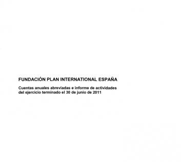 Portada del informe de cuentas anuales de Plan International España 2011