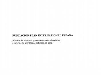 Portada del informe de cuentas anuales de Plan International España 2012