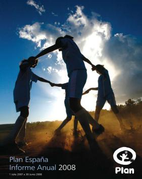 Portada de la memoria anual de Plan International España 2008