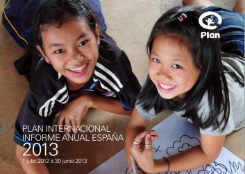 Portada de la memoria anual de Plan International España 2013
